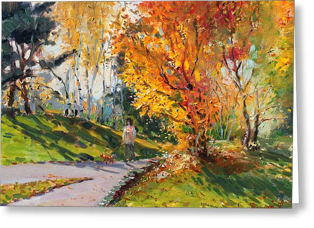 Autumn Landscape Paintings Greeting Cards - Viola in a Nice Autumn Day  Greeting Card by Ylli Haruni