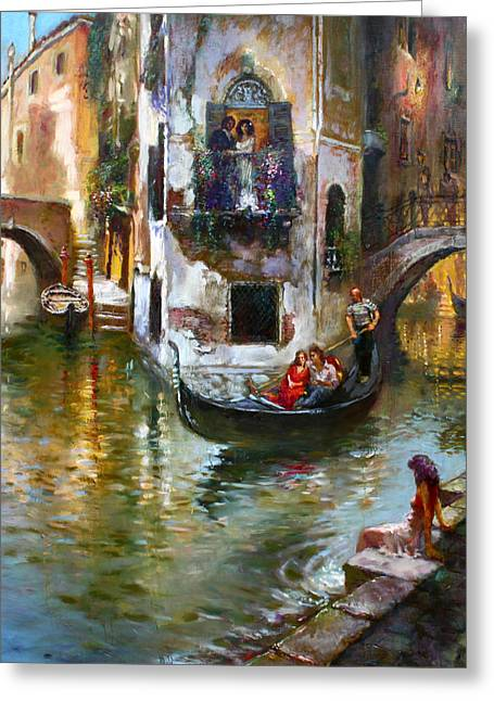 Romance Greeting Cards - Viola in Venice Greeting Card by Ylli Haruni