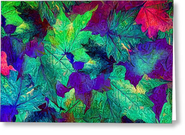 Leaf Abstract Greeting Cards - Violaceous Greeting Card by Lourry Legarde
