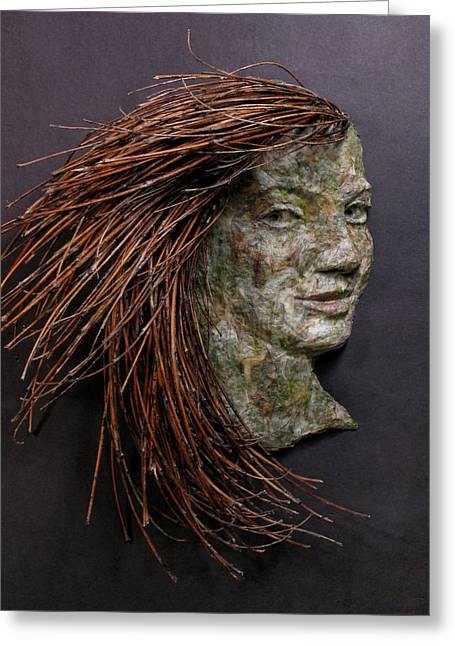 Relief Mixed Media Greeting Cards - Violet a relief sculpture by Adam Long Greeting Card by Adam Long