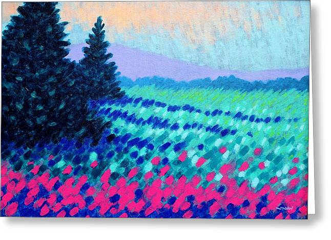 Floral Posters Greeting Cards - Violet Hills Greeting Card by John  Nolan