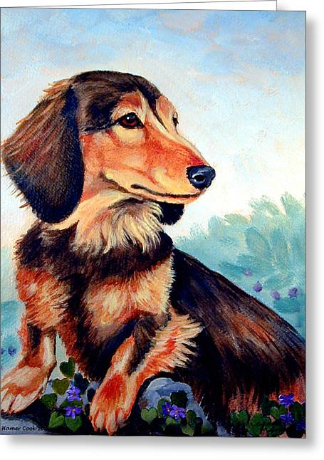 K9 Greeting Cards - Violets - Dachshund Greeting Card by Lyn Cook