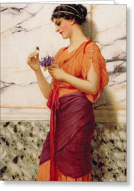 Violets Greeting Card by John William Godward