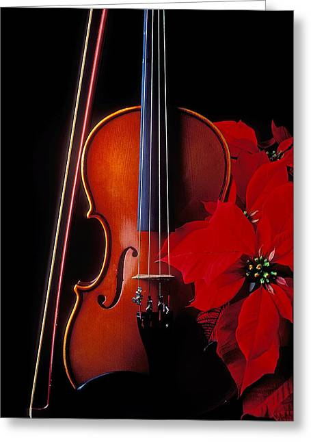 Violin Bows Violin Bows Greeting Cards - Violin and Poinsettia Greeting Card by Garry Gay