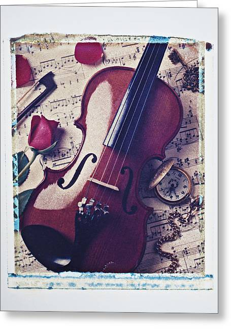 Transfer Greeting Cards - Violin and rose Greeting Card by Garry Gay