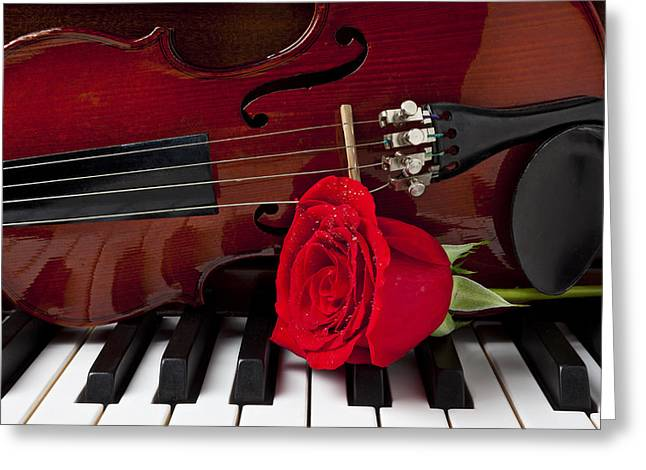 Dew Greeting Cards - Violin and rose on piano Greeting Card by Garry Gay