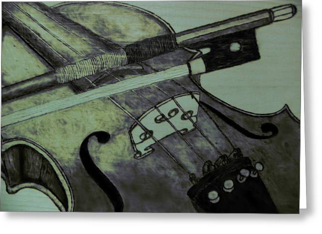Woodburn Pyrography Greeting Cards - Violin Greeting Card by Andrew Siecienski