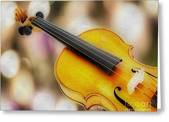 Playing Musical Instruments Greeting Cards - Violin Greeting Card by Cheryl Young
