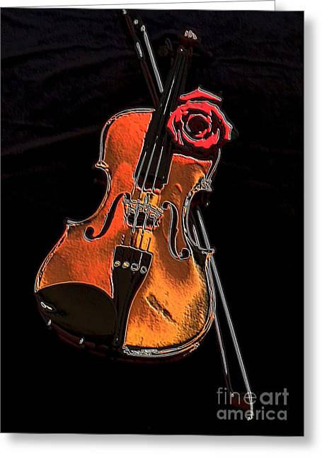 Sienna Digital Art Greeting Cards - Violin Extreme Greeting Card by Marsha Heiken