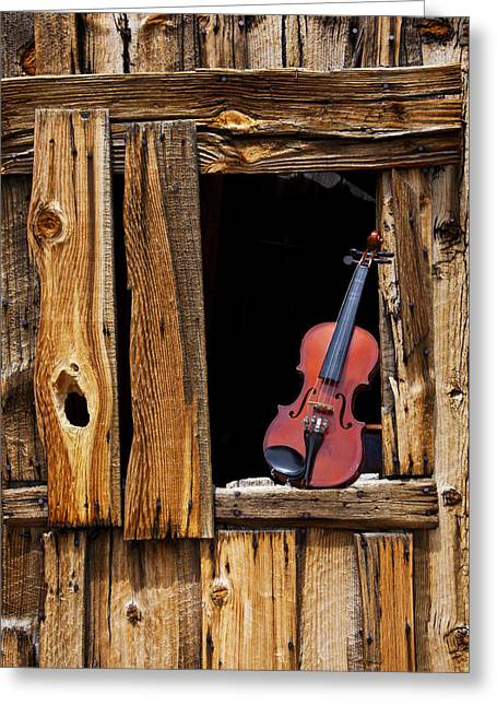 Ghost Town Greeting Cards - Violin in window Greeting Card by Garry Gay