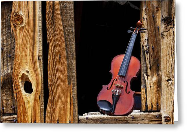 Violin in window Greeting Card by Garry Gay