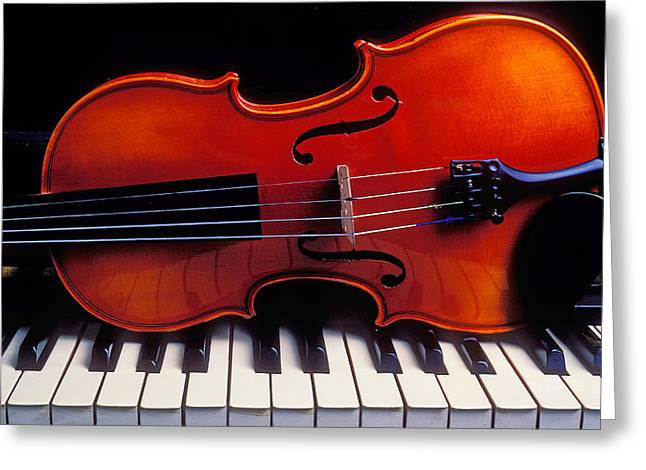 Violin On Piano Keys Greeting Card by Garry Gay