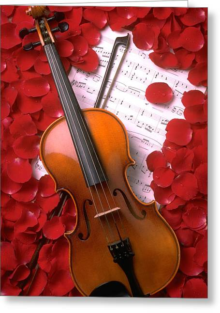 Violin Bows Violin Bows Greeting Cards - Violin on sheet music with rose petals Greeting Card by Garry Gay