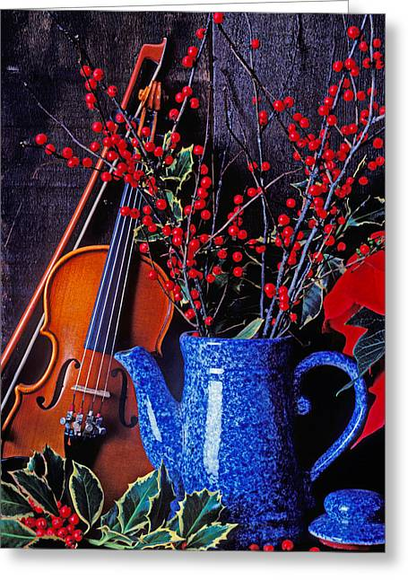 Holly Berry Still Life Greeting Cards - Violin with blue pot Greeting Card by Garry Gay