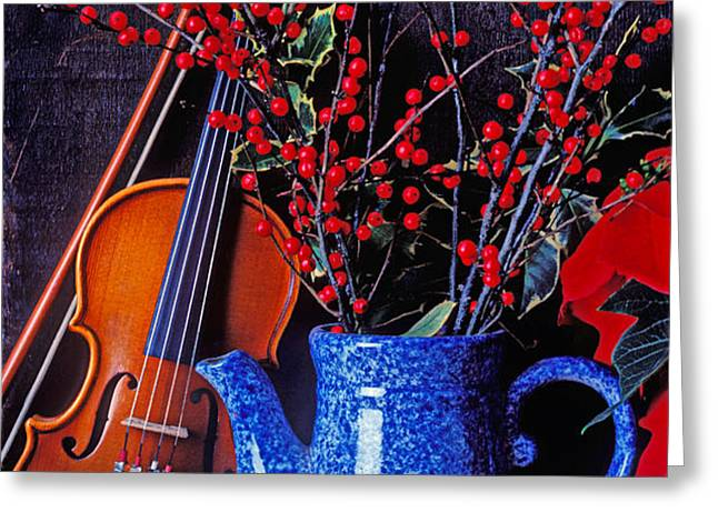 Violin with blue pot Greeting Card by Garry Gay