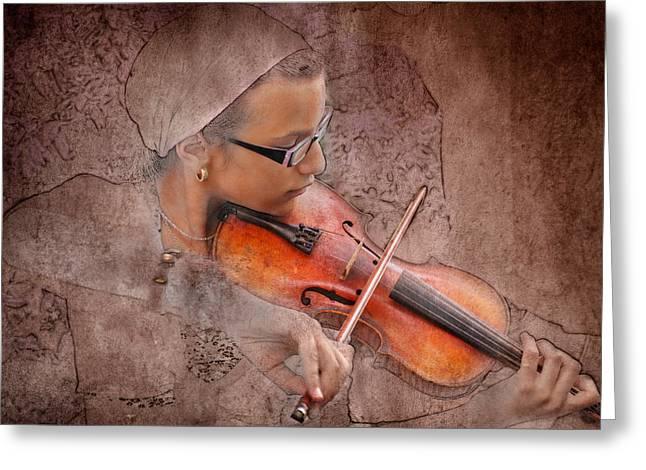 Four Score Greeting Cards - Violin Greeting Card by Zoran Buletic
