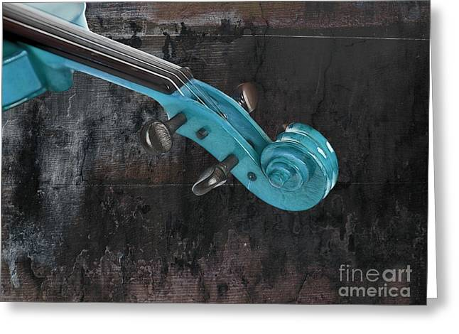 Turquoise Violin Greeting Cards - Violinelle - Turquoise 05a2 Greeting Card by Variance Collections