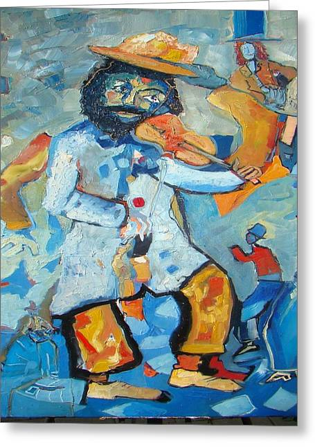 Violinist In Blue Back Greeting Card by Milan Nikolcin