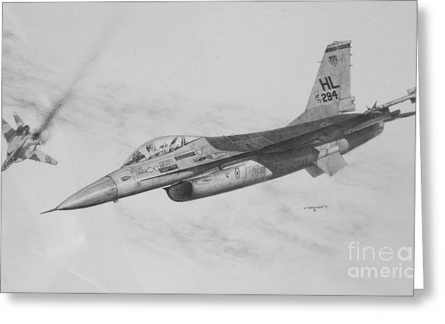 Military Airplanes Paintings Greeting Cards - Viper Bite Greeting Card by Mark Jennings