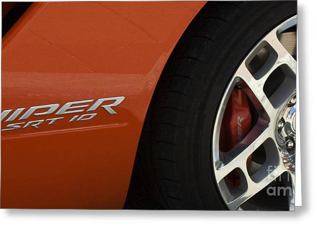 Route 66 Emblems Greeting Cards - Viper SRT 10 Emblem and Wheel Greeting Card by Bob Christopher
