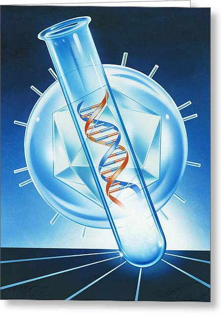 Helix Greeting Cards - Viral Dna Research Greeting Card by John Bavosi