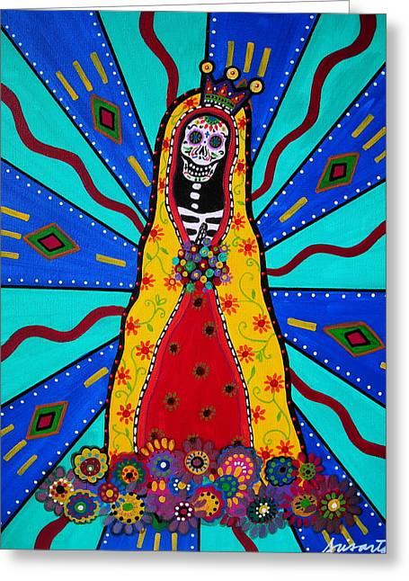 Virgen De Guadalupe Art Greeting Cards - Virgen Guadalupe Dia De Los Muertos Greeting Card by Pristine Cartera Turkus