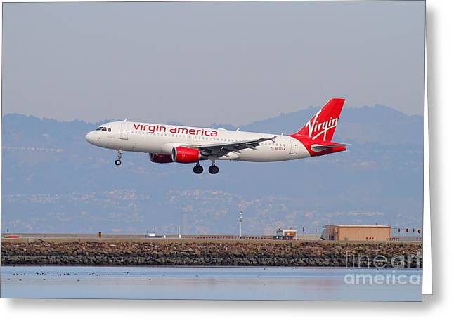 Airplane Landing Greeting Cards - Virgin America Airlines Jet Airplane At San Francisco International Airport SFO . 7D12180 Greeting Card by Wingsdomain Art and Photography
