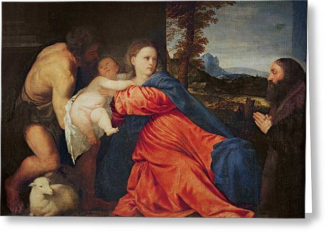 Jesus With A Child Greeting Cards - Virgin and Infant with Saint John the Baptist and Donor Greeting Card by Titian