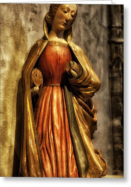 Wooden Sculpture Greeting Cards - Virgin Mary Greeting Card by Madeline Ellis