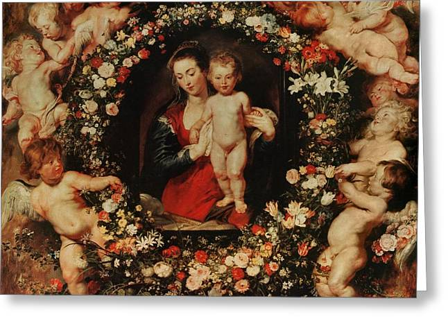 Best Sellers -  - Peter Paul (1577-1640) Greeting Cards - Virgin with a Garland of Flowers Greeting Card by Peter Paul Rubens