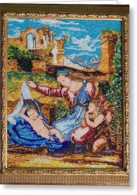Veiled Tapestries - Textiles Greeting Cards - Virgin with the Veil by Rafael Greeting Card by Elena Soldatkina