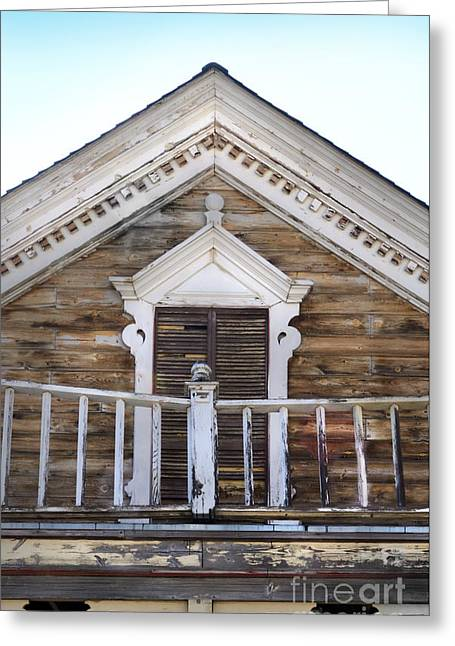 Broken Shutters Greeting Cards - Virginia City Balcony Greeting Card by Jill Battaglia