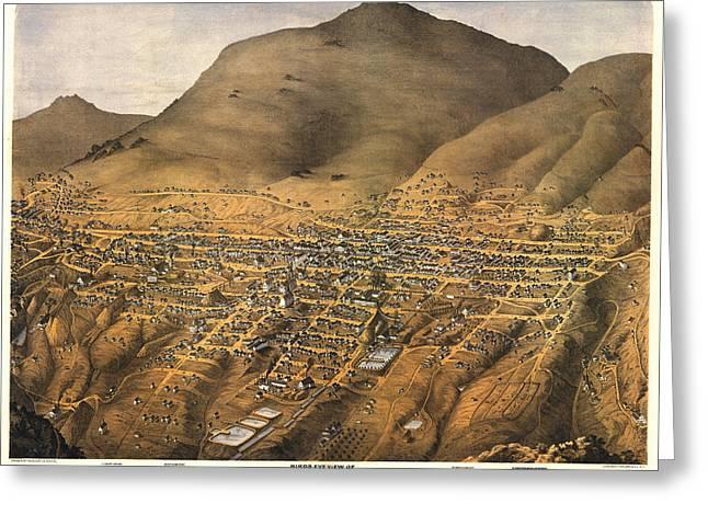 Virginia City Nevada 1875 Greeting Card by Donna Leach