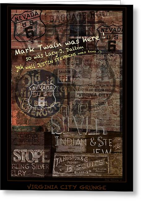 Silver Posters Greeting Cards - Virginia City Nevada Grunge Poster Greeting Card by John Stephens