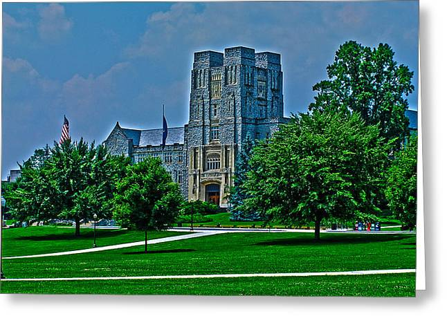 Hokie Greeting Cards - Virginia Tech - Burress Hall Greeting Card by Andrew Webb