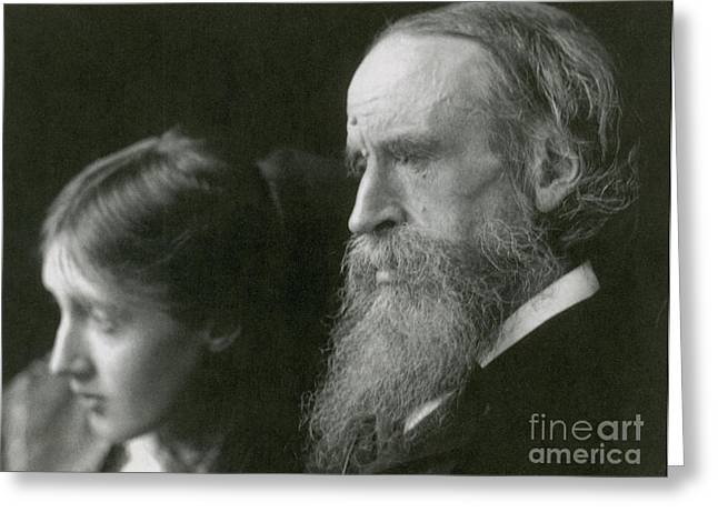 Commit Greeting Cards - Virginia Woolf With Her Father Greeting Card by Photo Researchers