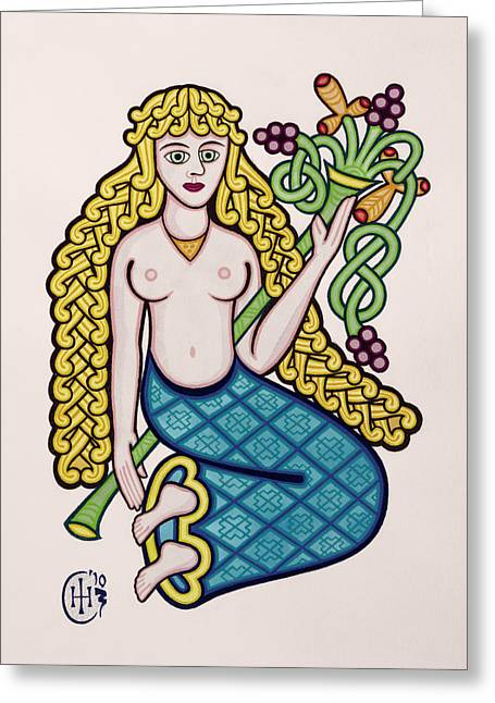Knotwork Greeting Cards - Virgo Greeting Card by Ian Herriott