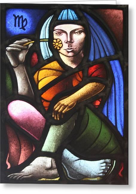 Virgin Glass Art Greeting Cards - Virgo Greeting Card by Victoria Millard