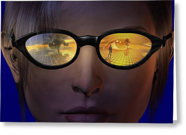 Virtual Reality Greeting Cards - Virtual reality glasses Greeting Card by Carol and Mike Werner