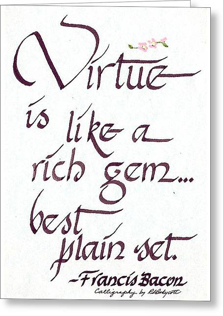 Virtue Greeting Card by Ruth Bodycott