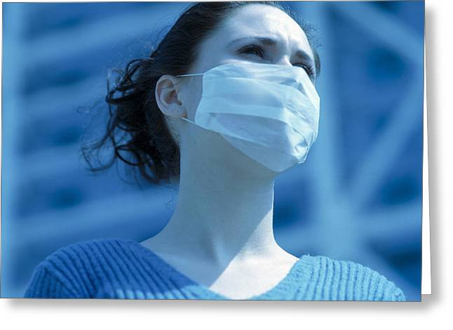 Virulent Greeting Cards - Virus Protection Face Mask Greeting Card by Cristina Pedrazzini