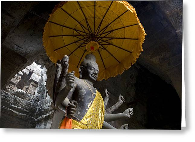 Indochinese Architecture And Art Greeting Cards - Vishnu Statue At The Entrance Of Angkor Greeting Card by Rebecca Hale