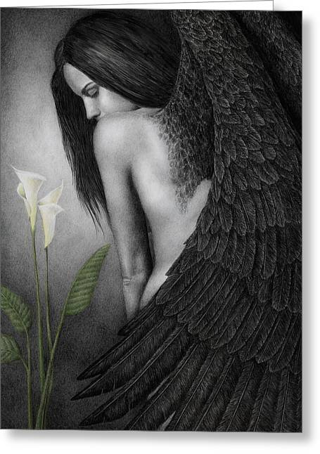 Angel Greeting Cards - Visible Darkness Greeting Card by Pat Erickson