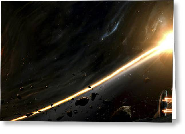 Vision Of A Black Hole Destroying A Sun Greeting Card by Tobias Roetsch