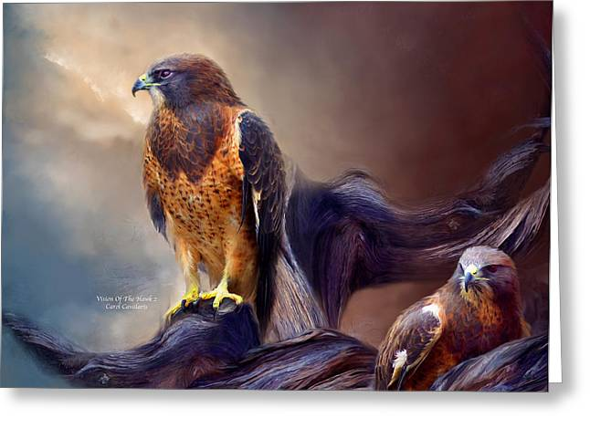 Wildlife Art Greeting Cards Greeting Cards - Vision Of The Hawk 2 Greeting Card by Carol Cavalaris
