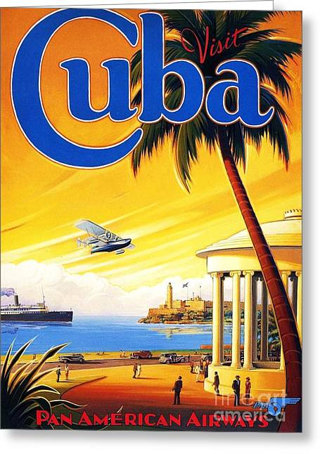 Visit Cuba Greeting Card by Reproduction