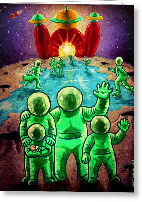 Astronauts Mixed Media Greeting Cards - Visit the Moon Greeting Card by Baird Hoffmire