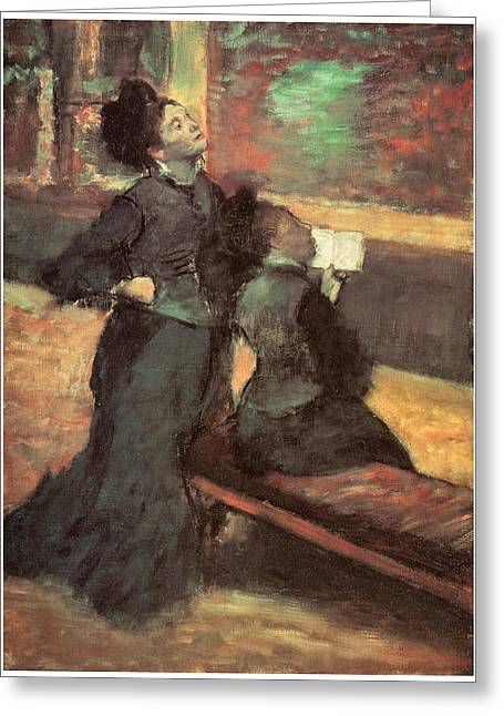Woman In A Dress Greeting Cards - Visit to a Museum Greeting Card by Edgar Degas