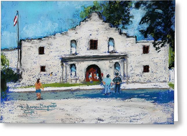 Riverwalk Pastels Greeting Cards - Visiting The Alamo Greeting Card by M Diane Bonaparte