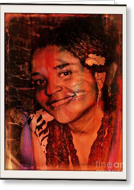 Painted Details Mixed Media Greeting Cards - Visitor Greeting Card by Fania Simon